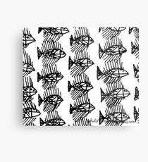 Black and White Abstract Fish Metal Print