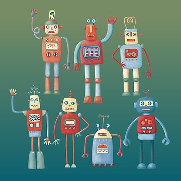 Vintage Retro Robots by squirrell