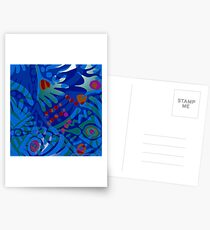 Colorful Tropical Print Abstract in Blue and Green Postcards