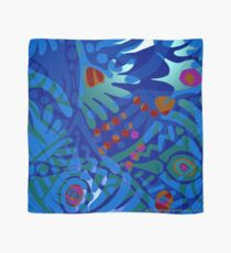 Colorful Tropical Print Abstract in Blue and Green Scarf