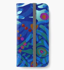 Colorful Tropical Print Abstract in Blue and Green iPhone Wallet/Case/Skin