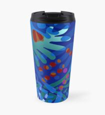 Colorful Tropical Print Abstract in Blue and Green Travel Mug
