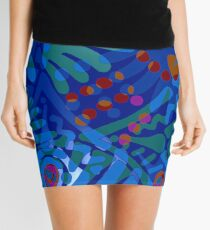 Colorful Tropical Print Abstract in Blue and Green Mini Skirt