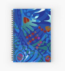 Colorful Tropical Print Abstract in Blue and Green Spiral Notebook