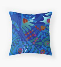 Colorful Tropical Print Abstract in Blue and Green Throw Pillow