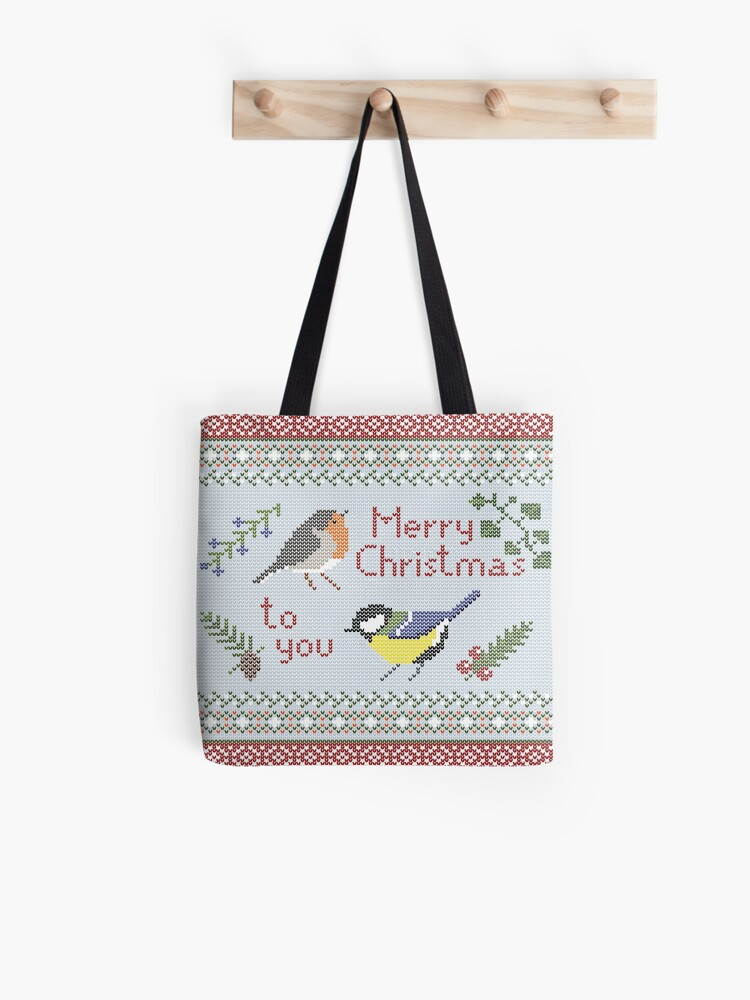 Christmas Robin with Holly Tote Shoulder Shopping Bag