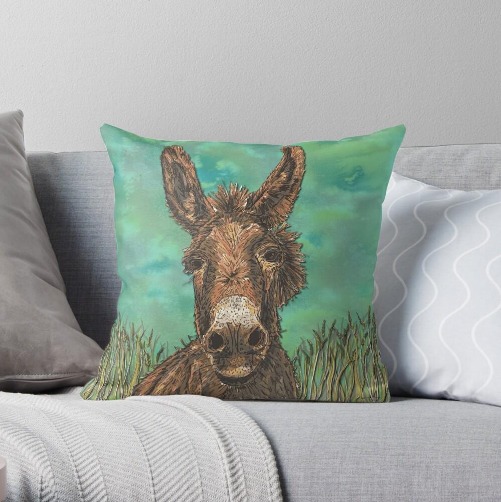Little Brown Donkey Throw Pillow