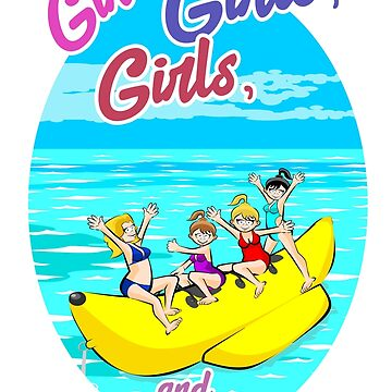 Banana boat group of girls having fun on summer vacation in the beach. by MegaSitioDesign