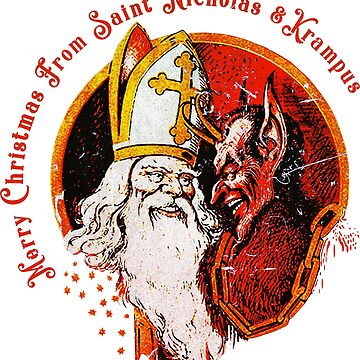 Merry Christmas From St Nicholas and Krampus  by nostalgiagame
