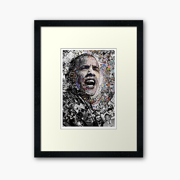 """I Am Not A Perfect Man,"" Obama Civil Rights and Protest Collage Framed Art Print"