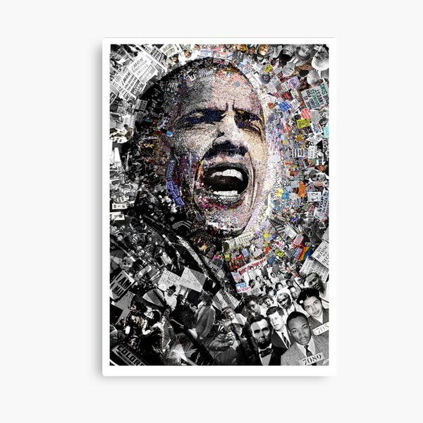"""""""I Am Not A Perfect Man,"""" Obama Civil Rights and Protest Collage Canvas Print"""