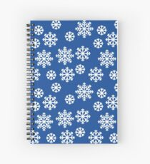 Christmas / Winter Big White Snowflakes Pattern Blue Spiral Notebook