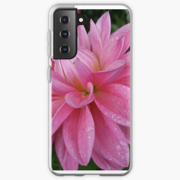 pink dahlia after a shower Samsung Galaxy Soft Case