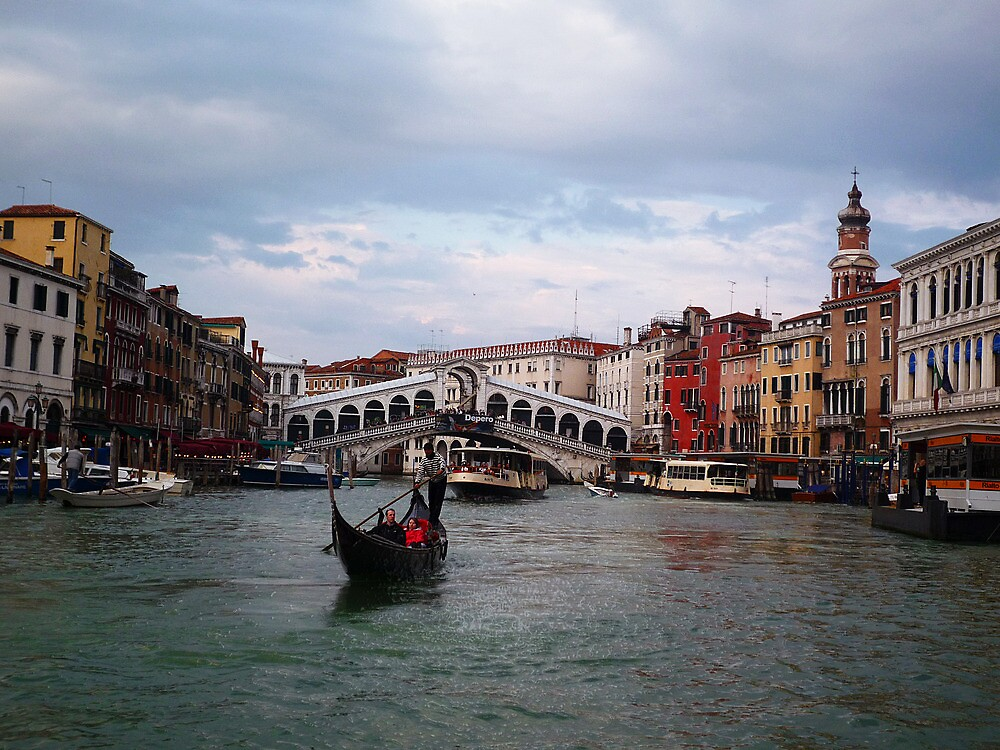 Venice - Rialto and a gondola by Stefano  De Rosa