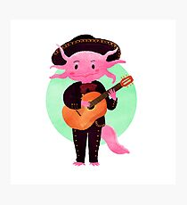 Axolotl with mariachi costume playing the guitar, Digital Art illustration Photographic Print