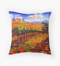 Tuscany Vineyard & Poppies Throw Pillow