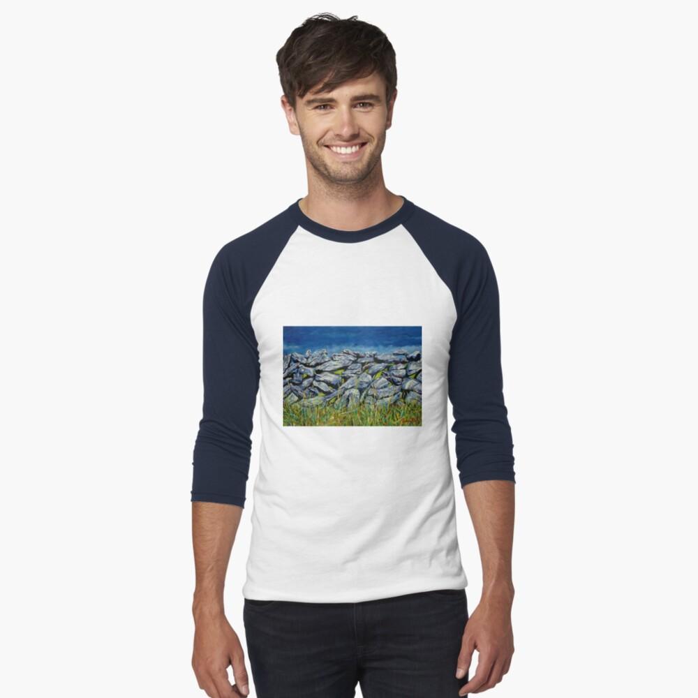 Burren Wall, Grafschaft Clare, Irland Baseballshirt mit 3/4-Arm
