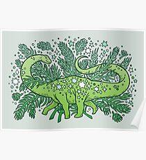 Winter Solstice Sauropod   Evergreens Palette Poster