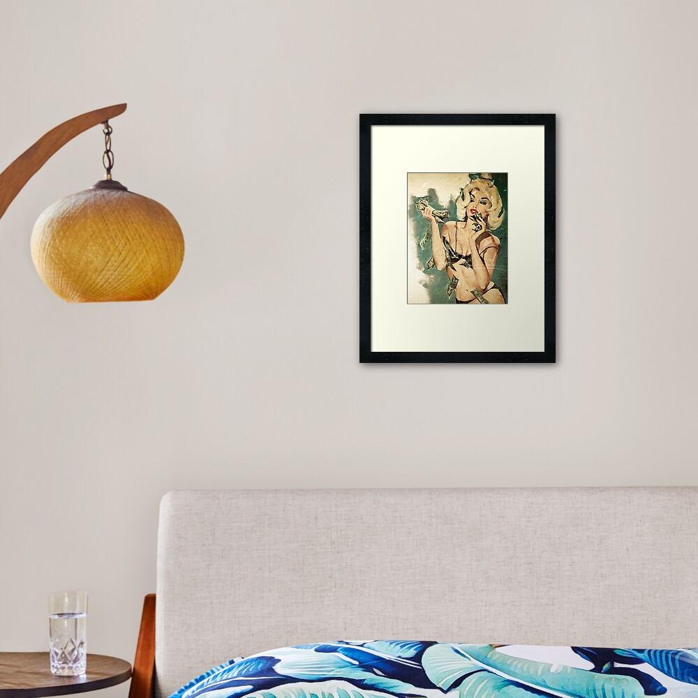Retro money girl Framed Art Print