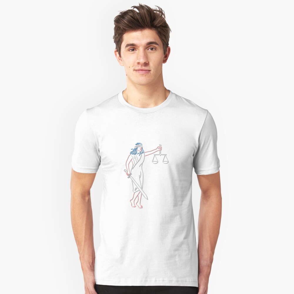 Lady Justice Holding Sword and Balance Neon Sign Unisex T-Shirt Front