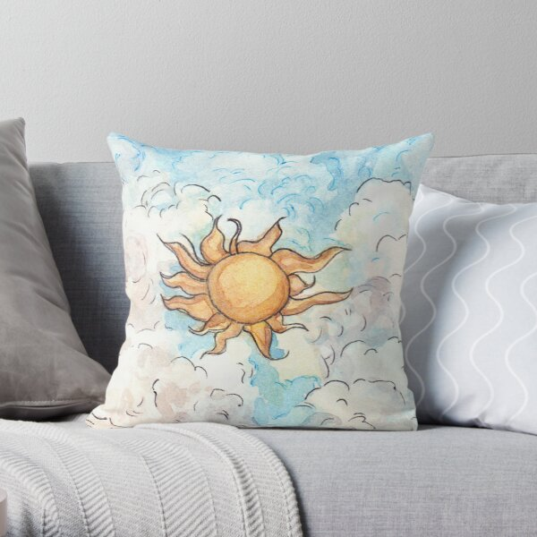 the sun and clouds Throw Pillow
