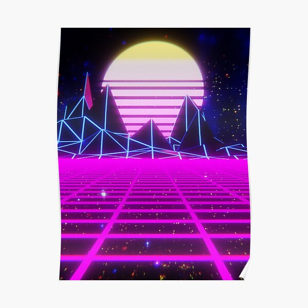 Epic Gamer Synthwave Mountain Poster