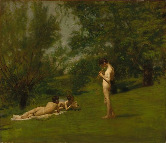 Thomas Eakins Arcadia, paintings for sale, famous oil, american art, 19th century art, realism,  Philadelphia, landscape, countryside, field, musician, lounging by Art Gallery
