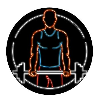 Athlete Lifting Barbell Oval Neon Sign by patrimonio