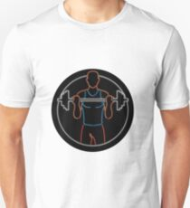 Athlete Lifting Barbell Oval Neon Sign Unisex T-Shirt