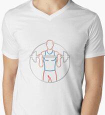 Athlete Lifting Barbell Neon Sign Men's V-Neck T-Shirt