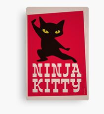 Lienzo Cartel retro Ninja Kitty