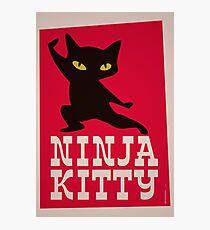 Lámina fotográfica Cartel retro Ninja Kitty