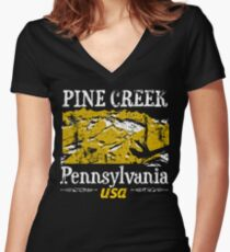 Pennsylvania Pine Creek Distressed Women's Fitted V-Neck T-Shirt