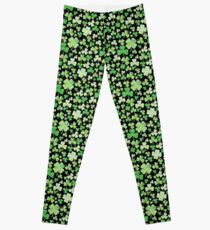 St Patricks Day Green Watercolour Shamrock Pattern Leggings