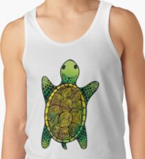 Green Watercolour Ink Drawn Turtle Pattern Tank Top
