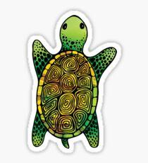 Green Watercolour Ink Drawn Turtle Pattern Sticker