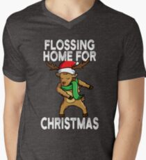 Flossing Home For Christmas Rudolph Reindeer Men's V-Neck T-Shirt