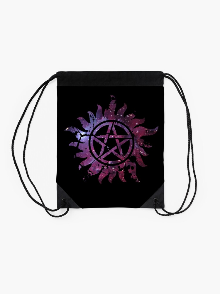 Alternate view of Supernatural Anti-Possession Galaxy Print Drawstring Bag