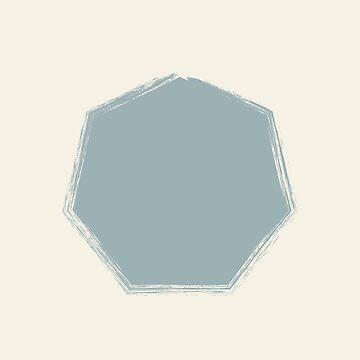 Pale Blue Octagon On Cream Stencil Effect by broadmeadow