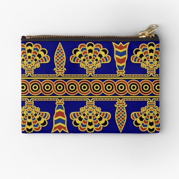 Assyrian Wall Painting in blue and gold Zipper Pouch