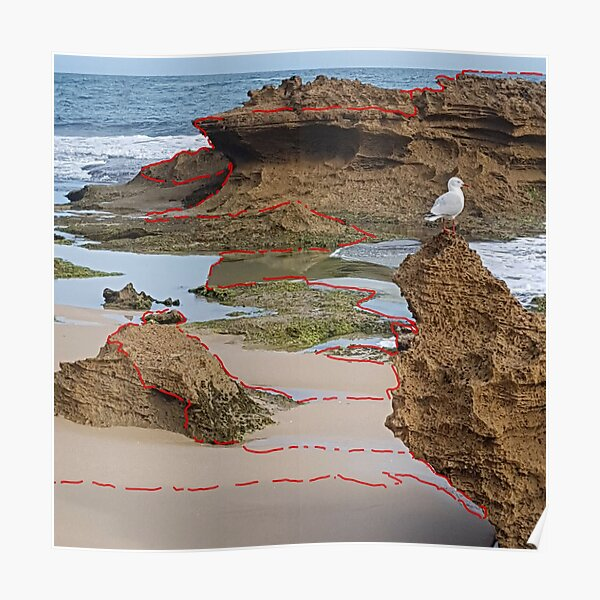 Stitched Landscape Red #1 Poster
