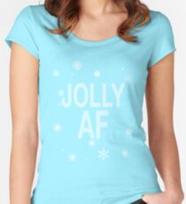 Jolly AF Ugly Christmas Sweater Style  Women's Fitted Scoop T-Shirt