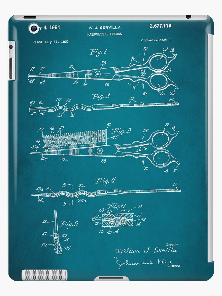Incredible Vintage Hair Cutting Scissors Patent 1954 Ipad Cases Skins By Wiring Digital Resources Jebrpkbiperorg