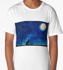 Starry Blues Original Watercolor Painting. Howling Wolf. Long T-Shirt