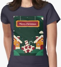 Merry Christmas -Santa's house Women's Fitted T-Shirt