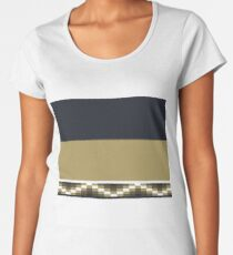 Block Wave Illustration 2 Thick Bold Horizontal Lines Digital Artwork Women's Premium T-Shirt