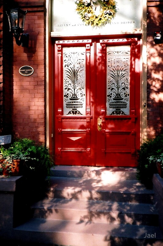 Quot What S Behind The Red Door Of Savannah Quot By Jael Redbubble