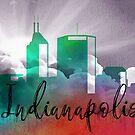 Indianapolis | Stadt Skyline | Buntes Aquarell von PraiseQuotes