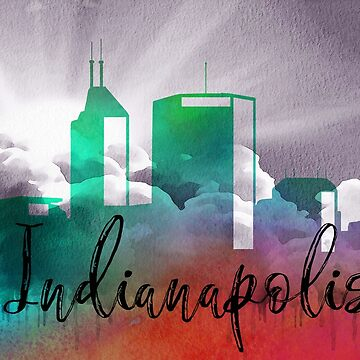 Indianapolis | CIty Skyline | Colorful Watercolor by PraiseQuotes