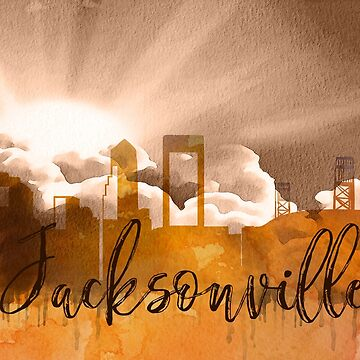 Jacksonville | CIty Skyline | Colorful Watercolor by PraiseQuotes